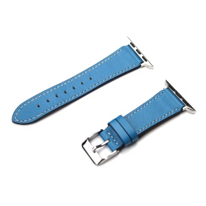 For Apple Watch Series 4 40mm, Series 3 / 2 / 1 38mm Genuine Leather Smart Watch Band Part Replacement - Blue