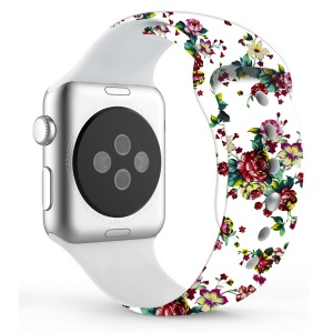 Flower Pattern Leather Watch Strap Part for Apple Watch Series 4 44mm / Series 3 2 1 42mm - Style E