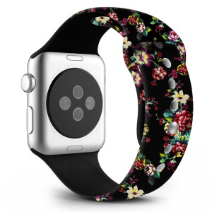 Flower Pattern Leather Watchband Part for Apple Watch Series 4 40mm / Series 3 2 1 38mm - Style B