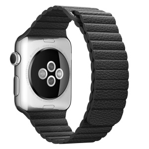 Magnetic Loop Genuine Leather Watch Band for Apple Watch Series 4 40mm / Series 3 2 1 38mm - Black