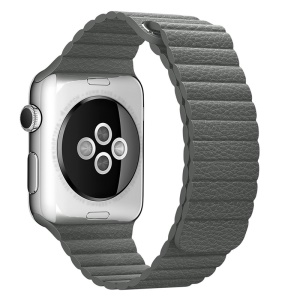 Magnetic Loop Genuine Leather Watch Band Strap for Apple Watch Series 4 40mm / Series 3 2 1 38mm - Grey