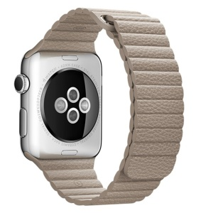 For Apple Watch Series 4 44mm Magnetic Loop Genuine Leather Wrist Watch Band - Khaki