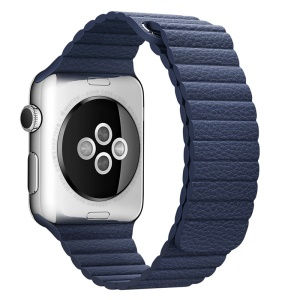 Magnetic Loop Genuine Leather Replacement Watch Strap for Apple Watch Series 4 40mm / Series 3 2 1 38mm - Blue