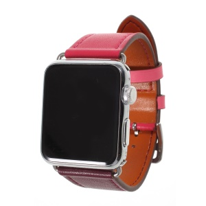 Contrast Color Genuine Leather Watch Band for Apple Watch Series 4 40mm, Series 3 / 2 / 1 38mm - Rose / Wine Red