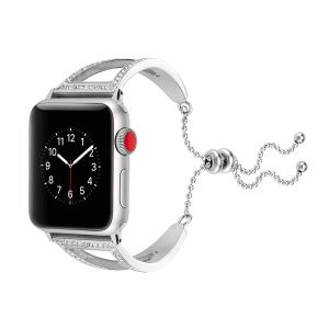 For Apple Watch Series 4 40mm / Series 3 2 1 38mm Watch Bracelet Replacement [Diamond Decor] [Stainless Steel] - Silver