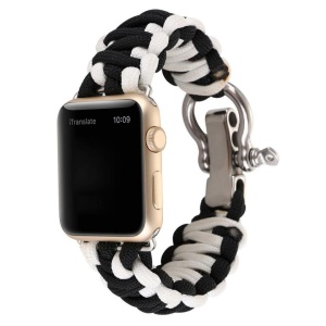 Outdoor Sports Emergency Rope Nylon Rope Braided Watch Strap Band for Apple Watch Series 4 40mm, Series 3 / 2 / 1 38mm - Black / White