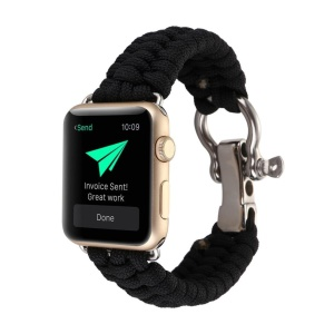 Outdoor Sports Emergency Rope Nylon Braided Watch Strap for Apple Watch Series 4 44mm, Series 3 / 2 / 1 42mm - All Black