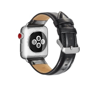 Top Layer Crazy Horse Texture Cowhide Leather Watch Band for Apple Watch Series 5 4 44mm, Series 3 / 2 / 1 42mm - Black