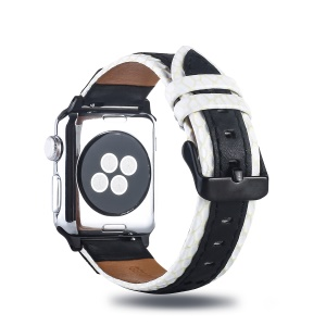 Grid Pattern Genuine Leather Watch Band for Apple Watch Series 4 40mm, Series 3 / 2 / 1 38mm - Black / White