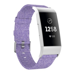 Breathable Canvas Watch Strap Replacement with Metal Connector for Fitbit Charge 3 - Purple