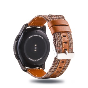 Cloth and Genuine Leather Watch Strap for 22mm Smart Watch - 004