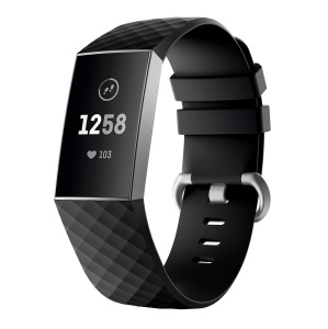 Flexible Silicone Replacement Smartwatch Band for Fitbit Charge 3 - Size: L / Black