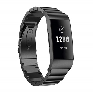 Luxury Metal Watch Strap Replacement with Folding Clasp for Fitbit Charge 4 / 3 - Black