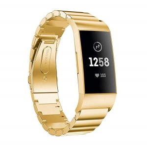 Classic Metal Watch Strap Replacement with Folding Clasp for Fitbit Charge 4 / 3 - Gold