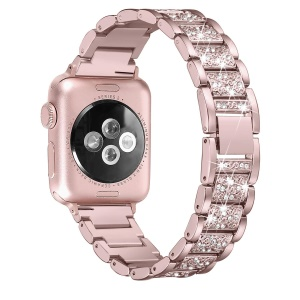 Rhinestone Decor Stainless Steel Watch Accessory Band for Apple Watch Series 5 4 40mm / Series 3 / 2 / 1 38mm - Rose Gold