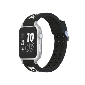Smiling Face Soft Silicone Watch Band for Apple Watch Series 4 40mm Series 3 / 2 / 1 38mm - Black / White