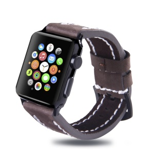 Top Layer Cowhide Leather Watch Accessory Strap for Apple Watch Series 5 4 44mm/3/2/1 42mm - Coffee