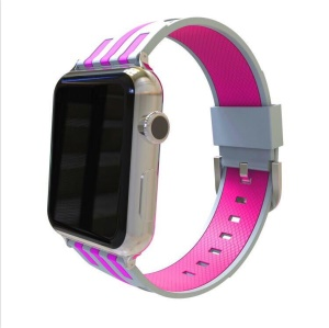 Contrast Color Stripe Flexible Silicone Watch Strap for Apple Watch Series 4 40mm, Series 3 / 2 / 1 38mm - Grey Outer / Rose Inside