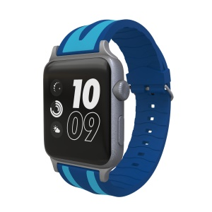 Dual Stripes Flexible Silicone Watch Wrist Band for Apple Watch Series 4 40mm Series 3 / 2 / 1 38mm - Light Blue