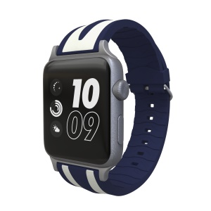 Dual Stripes Flexible Silicone Watch Band for Apple Watch Series 4 44mm Series 3 / 2 / 1 42mm - Dark Blue / White