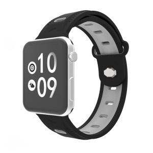 Rhombus Flexible Silicone Watch Band for Apple Watch Series 4 40mm Series 3 / 2 / 1 38mm - Black Outer / Grey Inside