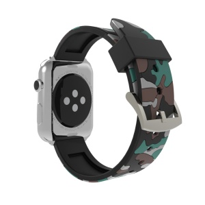 Camouflage Pattern Flexible Silicone Watch Band for Apple Watch Series 4 40mm, Series 3 / 2 / 1 38mm - Grey
