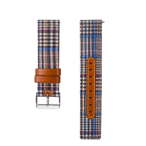 20mm Universal Watch Wrist Bracelet [Cloth and Cowhide Leather] Watch Strap - Style C