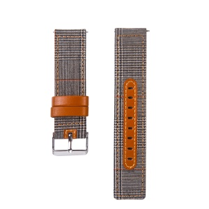 20mm Universal Watch Wrist Strap [Cloth and Cowhide Leather] Watch Strap - Style E