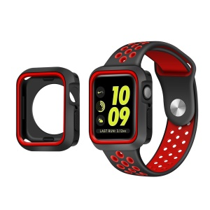 Two-color Soft TPU Protective Bumper Cover for Apple Watch Series 4 44mm - Black / Red