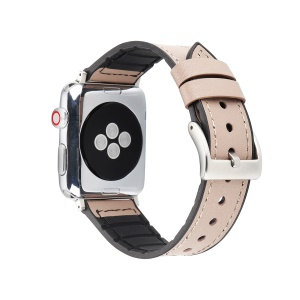 Leather Coated Soft TPU Watch Strap Replacement for Apple Watch Series 4 44mm / Series 3 2 1 42mm - Grey