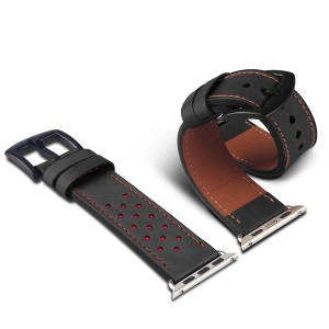 DUX DUCIS Genuine Leather Watch Strap Replacement (Classic Edition) Apple Watch Series 4 40mm / Series 3 / 2 / 1 38mm - Black