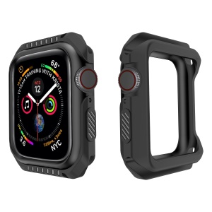 Soft Silicone Protective Bumper Cover for Apple Watch Series 4 44mm - All Black