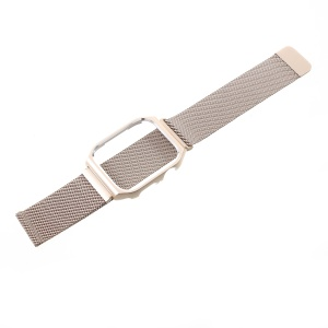 Milanese Stainless Steel Wristwatch Band with Watch Frame for Apple Watch Series 4 40mm, Series 3 / 2 / 1 38mm - Gold