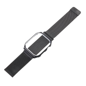 Milanese Stainless Steel Watchband Wrist Watch Band with Watch Frame for Apple Watch Series 4 44mm - Black