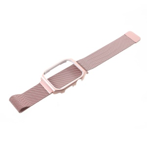 Milanese Stainless Steel Watchband Strap with Watch Frame for Apple Watch Series 4 44mm - Rose Gold