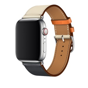 Contrast Color Genuine Leather Watch Strap for Apple Watch Series 4 40mm, Series 3 / 2 / 1 38mm - White / Dark Blue