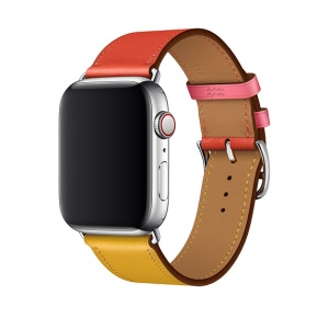 Contrast Color Genuine Leather Watch Band for Apple Watch Series 4 40mm, Series 3 / 2 / 1 38mm - Red / Yellow