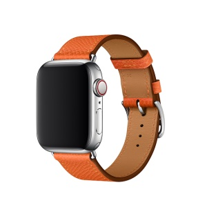Bracelet De Montre En Cuir De Remplacement Pour Apple Watch Series 4 44mm, Series 3 / 2 / 1 42mm - Orange