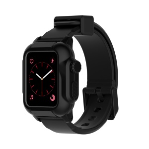 Soft Silicone Watchband Strap + Watch Case for Apple Watch Series 3 / 2 / 1 42mm - All Black