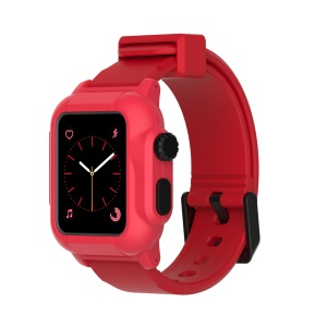 Soft Silicone Watch Sport Band + Watch Cover for Apple Watch Series 3 / 2 / 1 42mm - Red