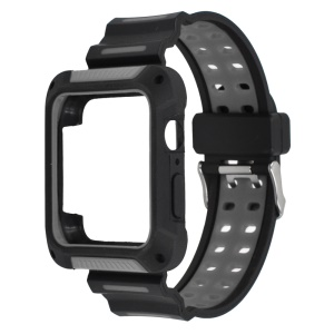 XINCUCO Bi-color Soft Silicone Watch Strap + Watch Frame for Apple Watch Series 5 4 44mm - Grey