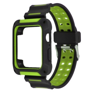 XINCUCO Bi-color Soft Silicone Watch Band Accessory + Watch Frame for Apple Watch Series 4 44mm - Green