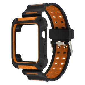 XINCUCO Bi-color Soft Silicone Watch Strap + Watch Frame for Apple Watch Series 4 44mm - Orange
