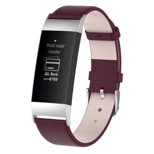 For Fitbit Charge 3 Genuine Leather Watch Wrist Bracelet with Stainless Steel Buckle - Wine Red