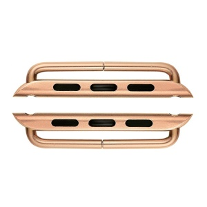 2Pcs/1 Pair Metal Watch Strap Connectors Replacement for Apple Watch Series 4 44mm, Series 3 / 2 / 1 42mm - Rose Gold