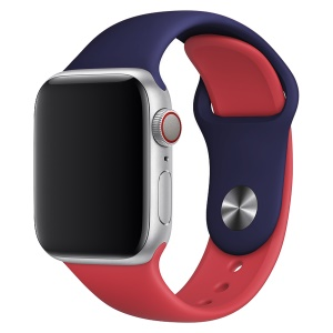 Contrast Color Silicone Watch Band Replacement for Apple Watch Series 4 44mm, Series 3 / 2 / 1 42mm - Dark Blue / Red