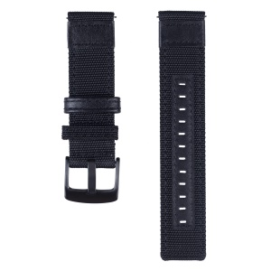 Universal 20mm Replacement Watch Band Nylon + Genuine Leather for Samsung Galaxy Watch 42mm etc. - Black