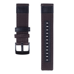 20mm Nylon + Genuine Leather Wrist Strap with Metal Buckle for Samsung Galaxy Watch 42mm etc. - Brown