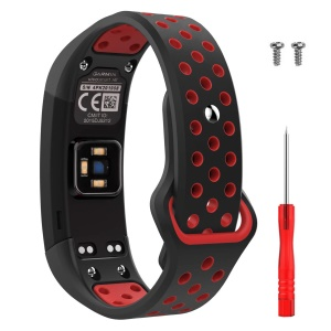 Bi-color Soft Silicone Watch Wrist Strap for Garmin Vivosmart HR with Tool - Red