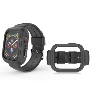 Fashion Bi-color Silicone Watch Strap Band with Frame for Apple Watch Series 4 44mm - All Black